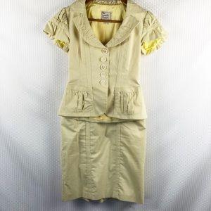 Nanette Lepore Yellow & blue pinstripes suit